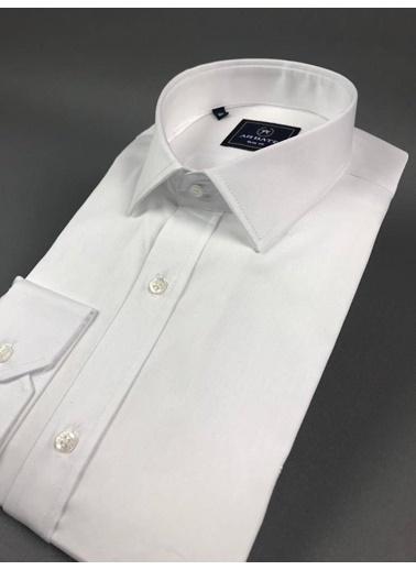 Abbate Klasık Yaka Slımfıt Düz Saten Gömlek Beyaz
